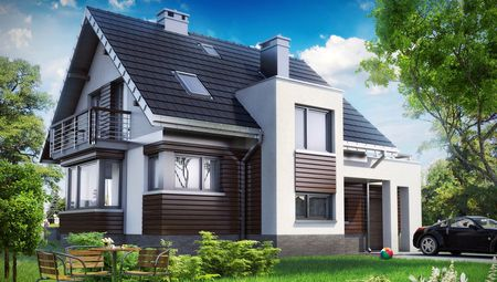 Проект славного котеджу з просторим балконом над гаражем