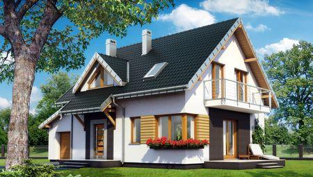 Проект будиночка з мансардою та терасою