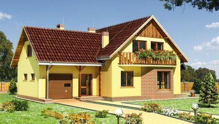 Гарний заміський котедж з чудовим дерев'яним балконом та невеликою верандою