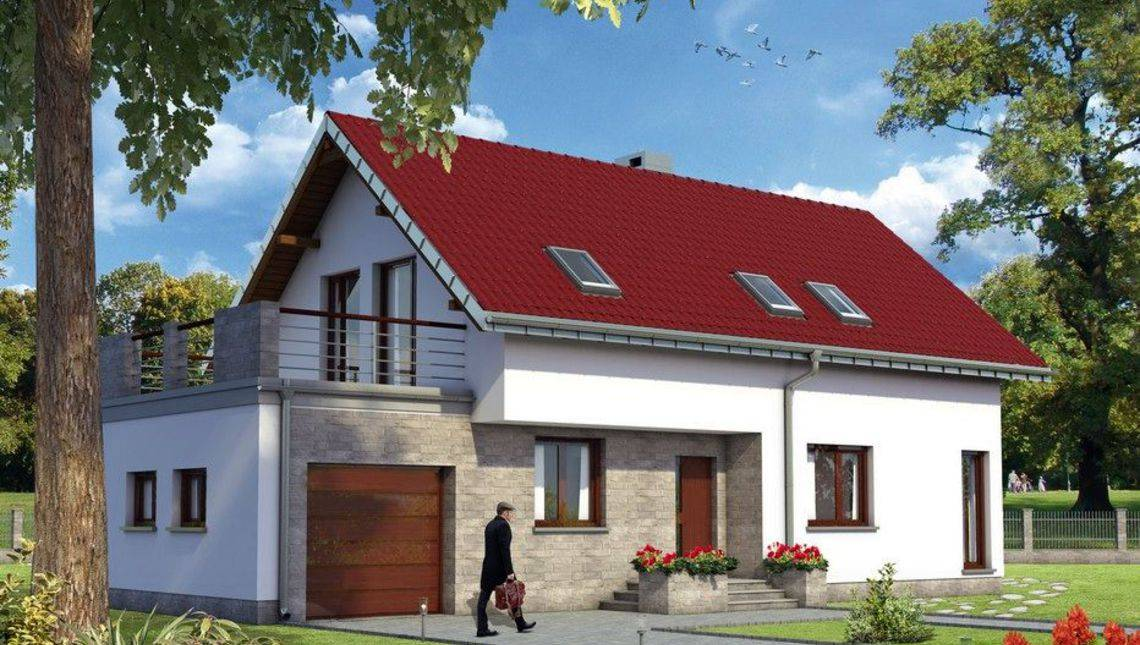 Оригінальний проект будинку з просторою терасою над гаражем
