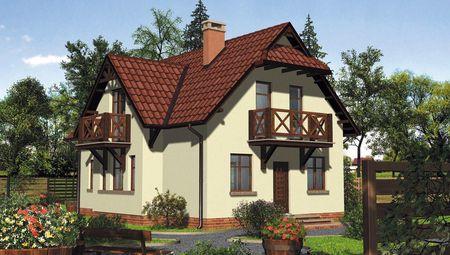 План чудового будинку з еркерами і балконами