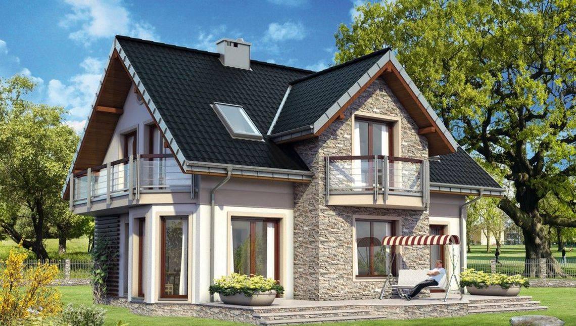 Традиційний проект будинку до 150 m² з мансардою