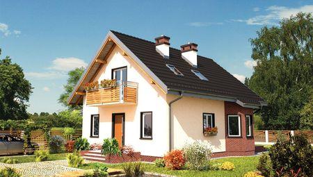 Компактний котедж в два поверхи з балконом