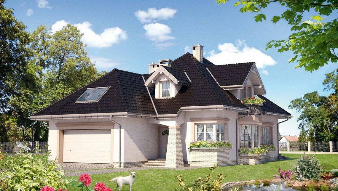 Будинок з багатоскатним дахом і гаражем на 2 автомобілі