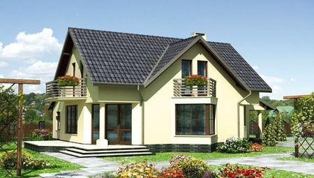 Гарний двоповерховий будинок з трикутним еркером