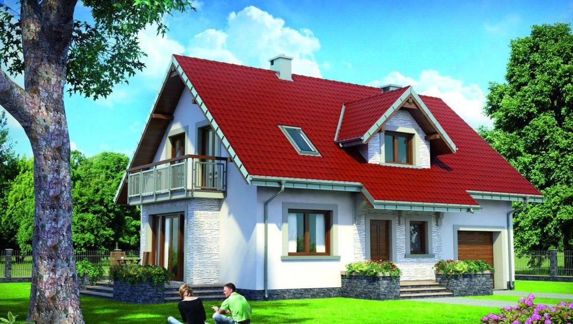 Проект для будівництва мансардного котеджу 170 m² з прибудованим гаражем