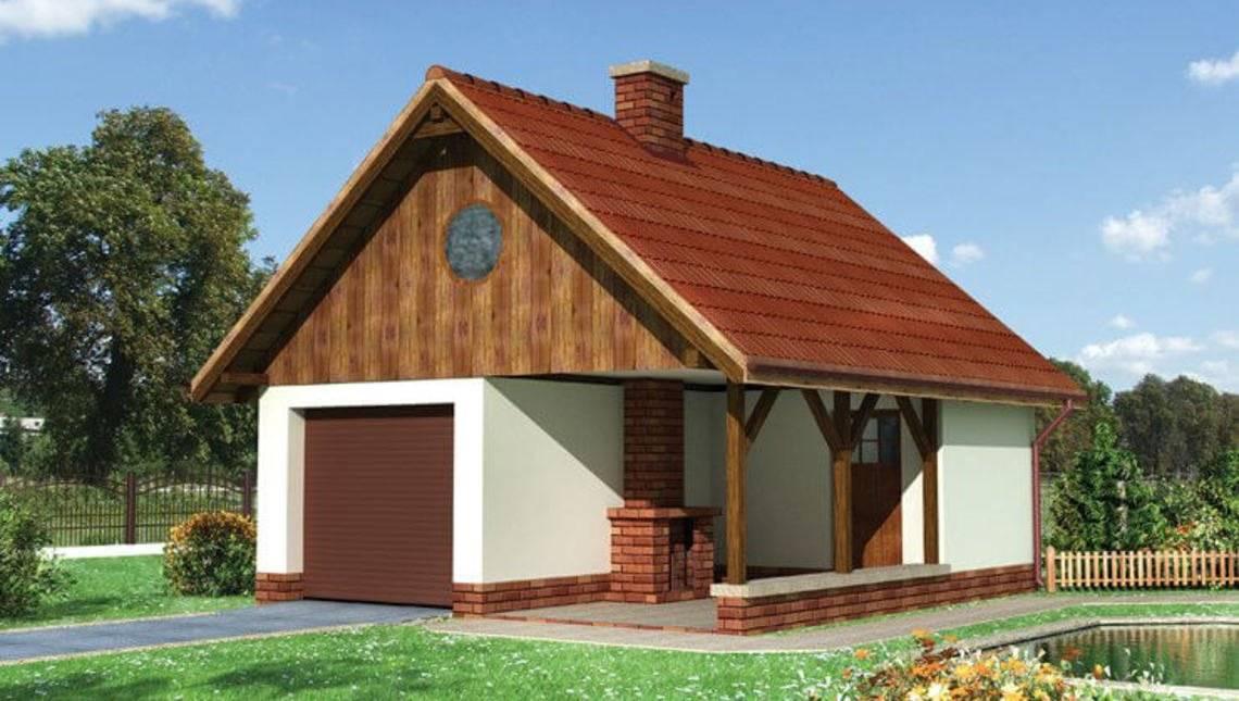 Проект одномісного гаража з каміном