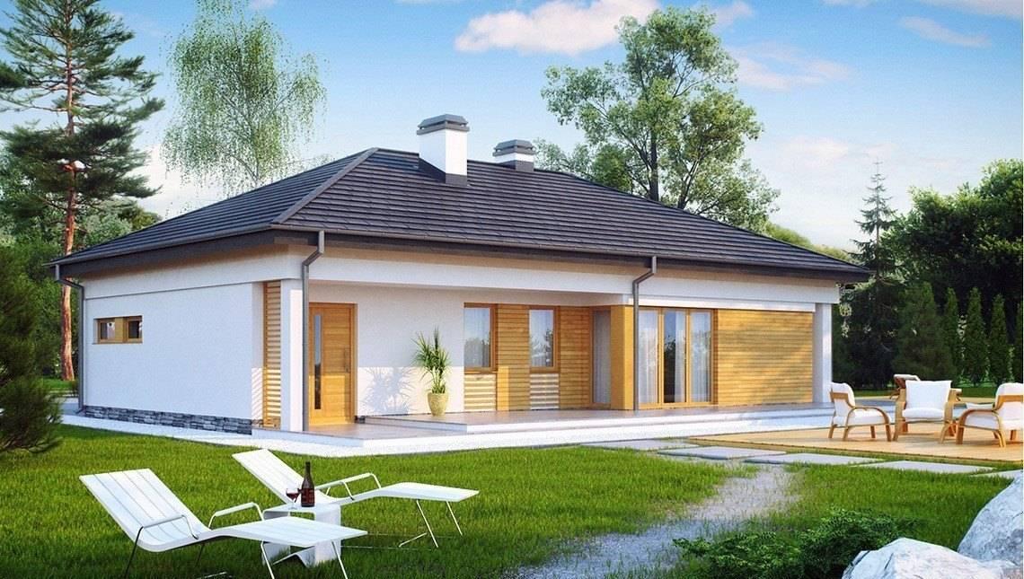 Проект функціонального одноповерхового котеджу з гаражем для 2 автомобілів