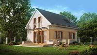 Проект невеликого будинку з мансардою і двосхилим дахом