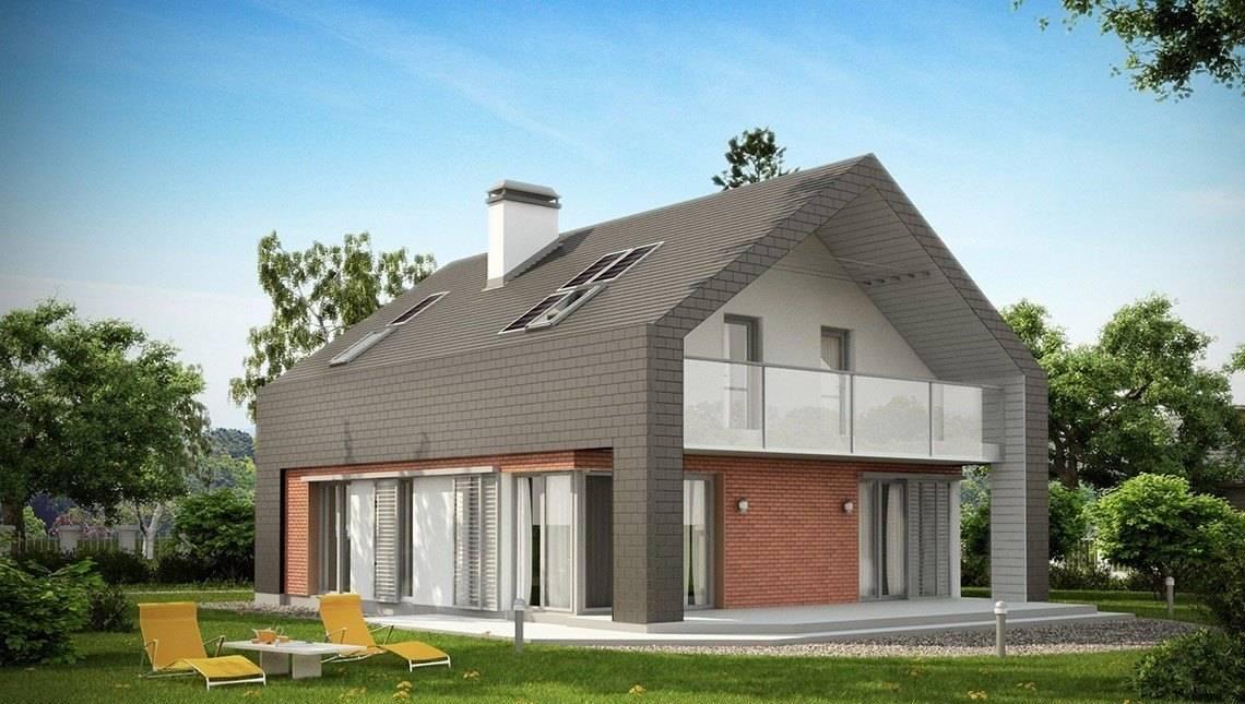 Проект практичного котеджу з незвичайною мансардою і цегляним фасадом