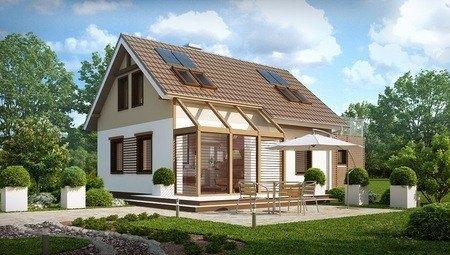 Проект котеджу з мансардою, гаражем і затишною терасою