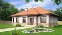 Проект одноповерхового будинку з чотирискатним дахом