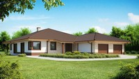 Проект одноповерхового будинку для вузької ділянки з великим гаражем