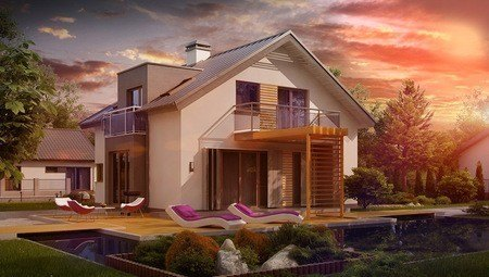 Проект сучасного стильного будинку з еркером і незвичайним балконом