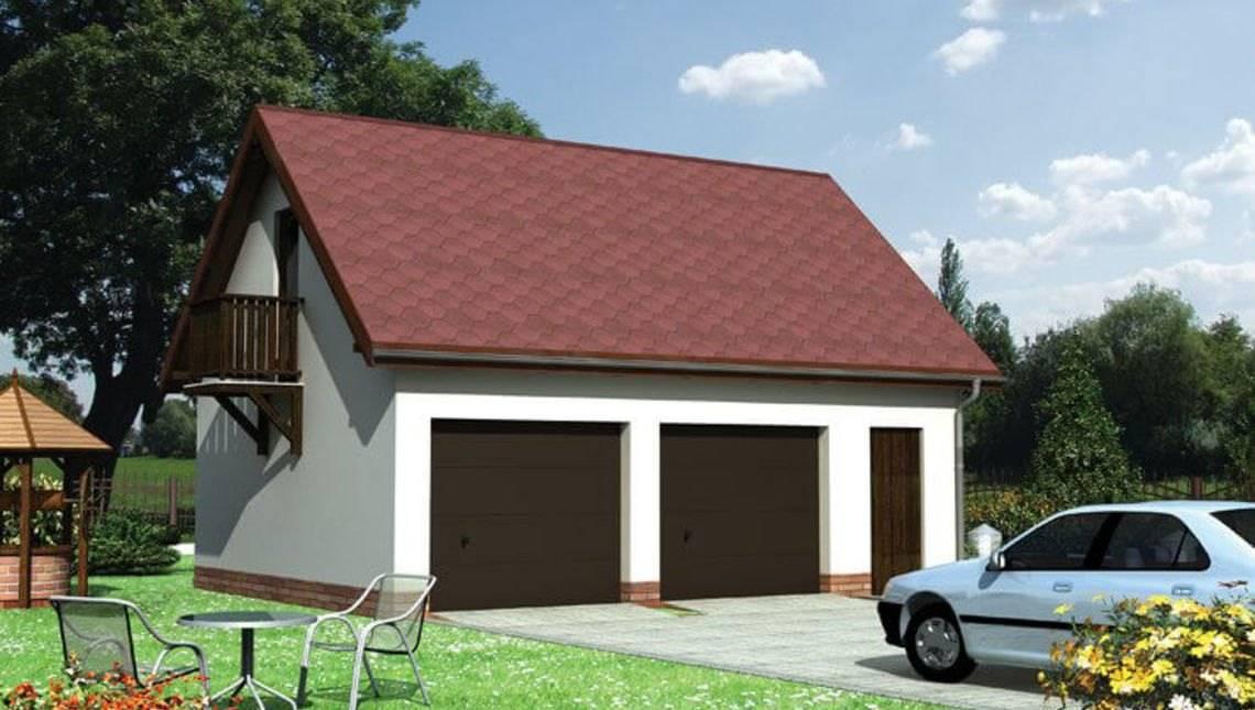 Проект гаража для двох автомобілів з мансардою та балконом