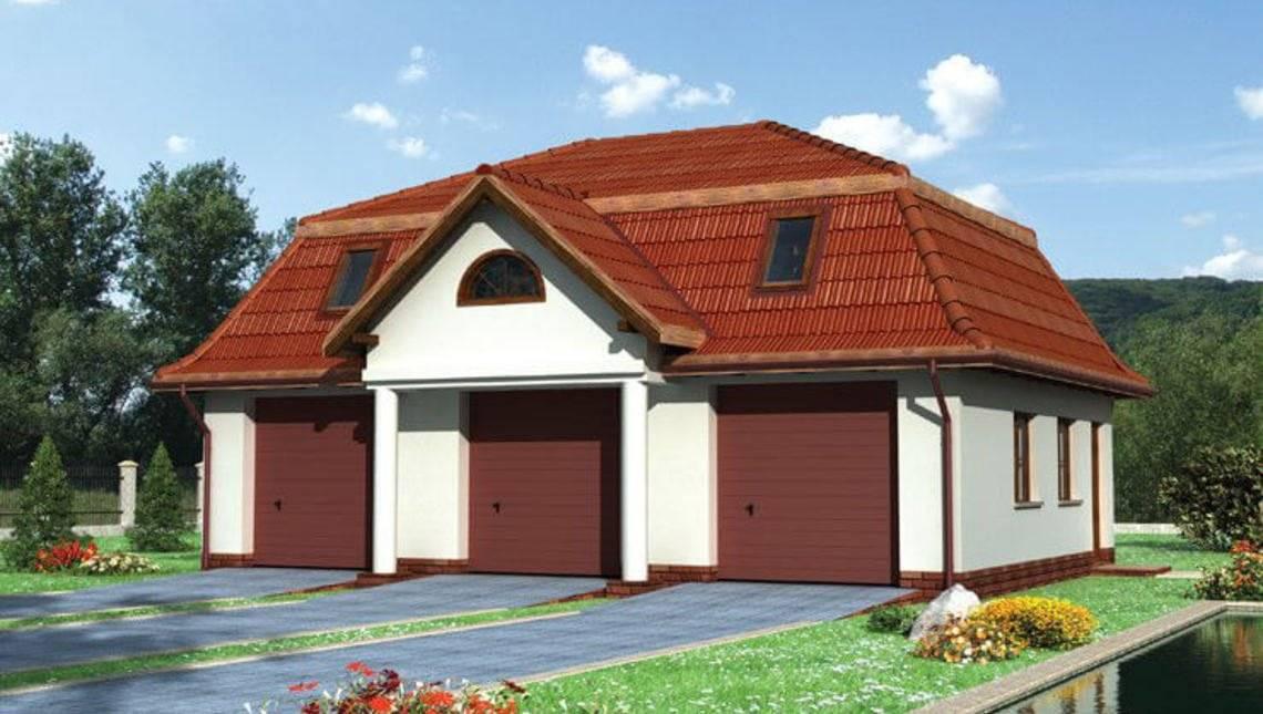 Проект гаражного будівлі на 3 паркувальних місця з горищем