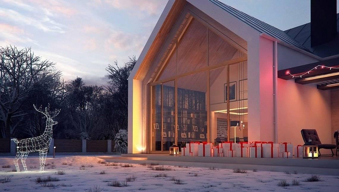 Проект невеликого двоповерхового будинку з панорамним вікном у вітальні