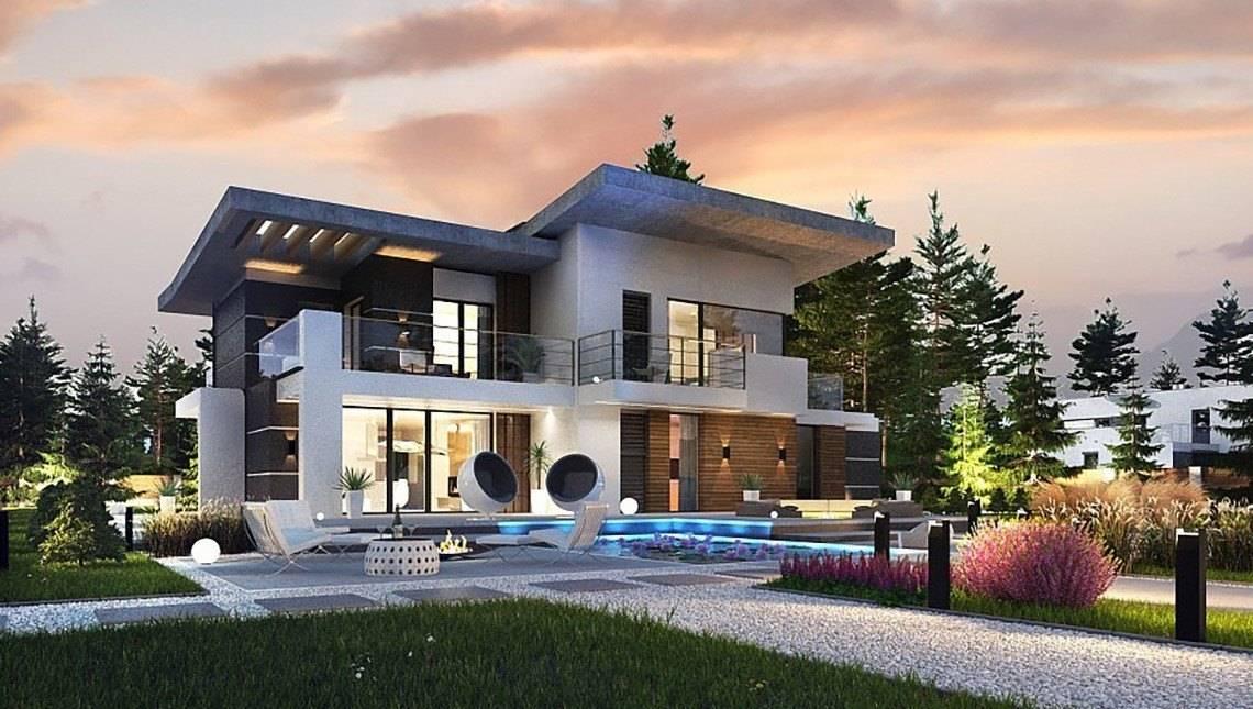 Проект сучасного двоповерхового будинку з терасою на другому поверсі