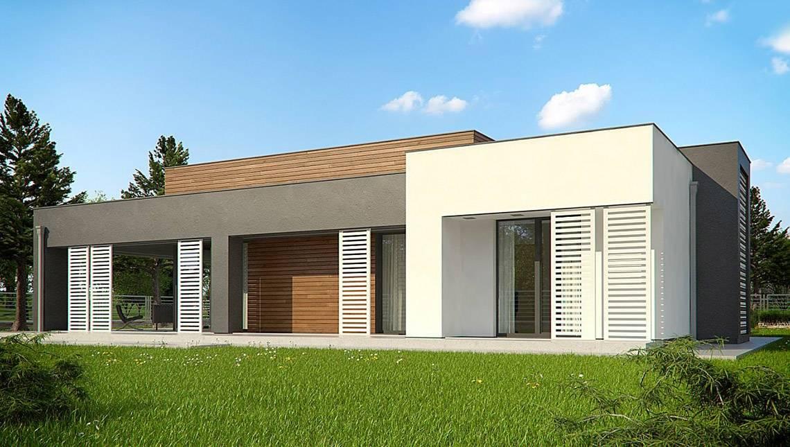 Проект одноповерхового модернового будинку для вузької ділянки