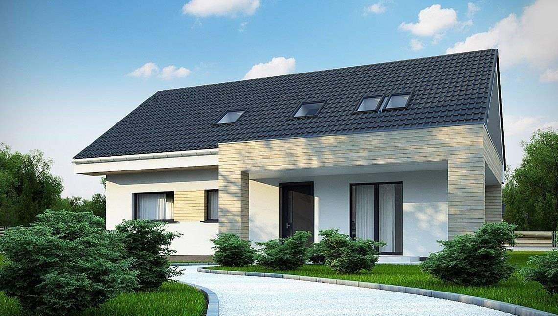 Проект приємного будинку з мансардою в сталевому стилі