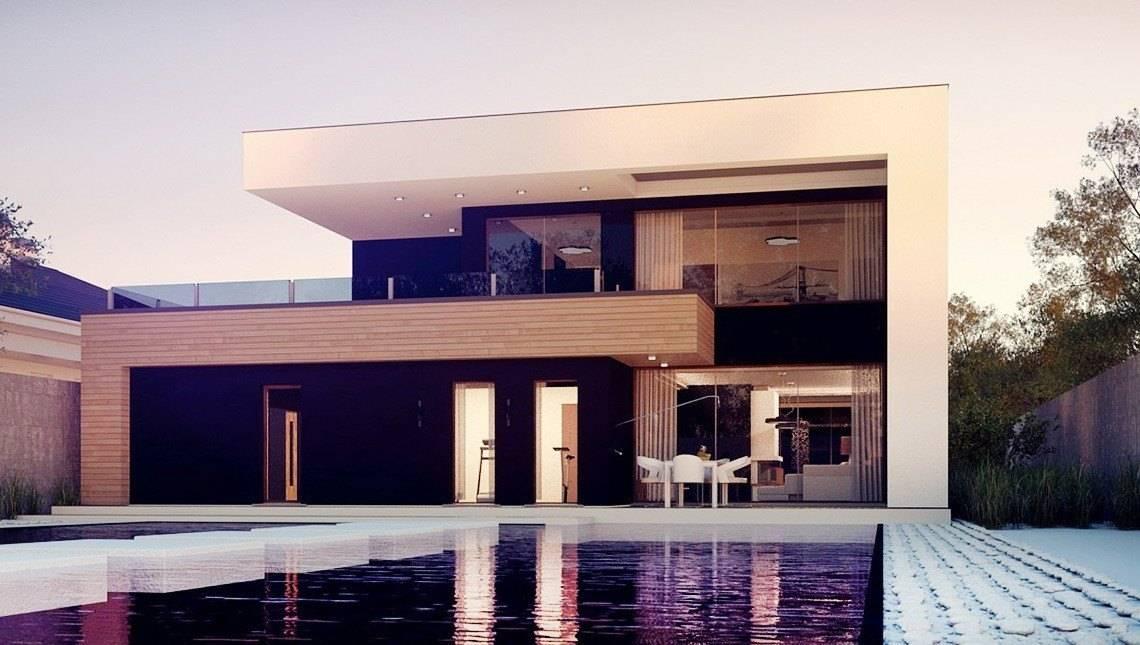 Проект заміського двоповерхового будинку з плоскою покрівлею