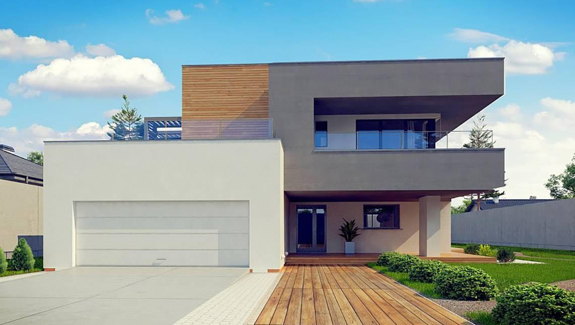 Проект сучасного двоповерхового котеджу з плоскою покрівлею з гаражем на дві машини
