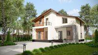 Проект сучасного будинку на два поверхи в класичному стилі