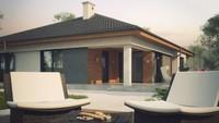 Проект одноповерхового будинку з еркером і терасою