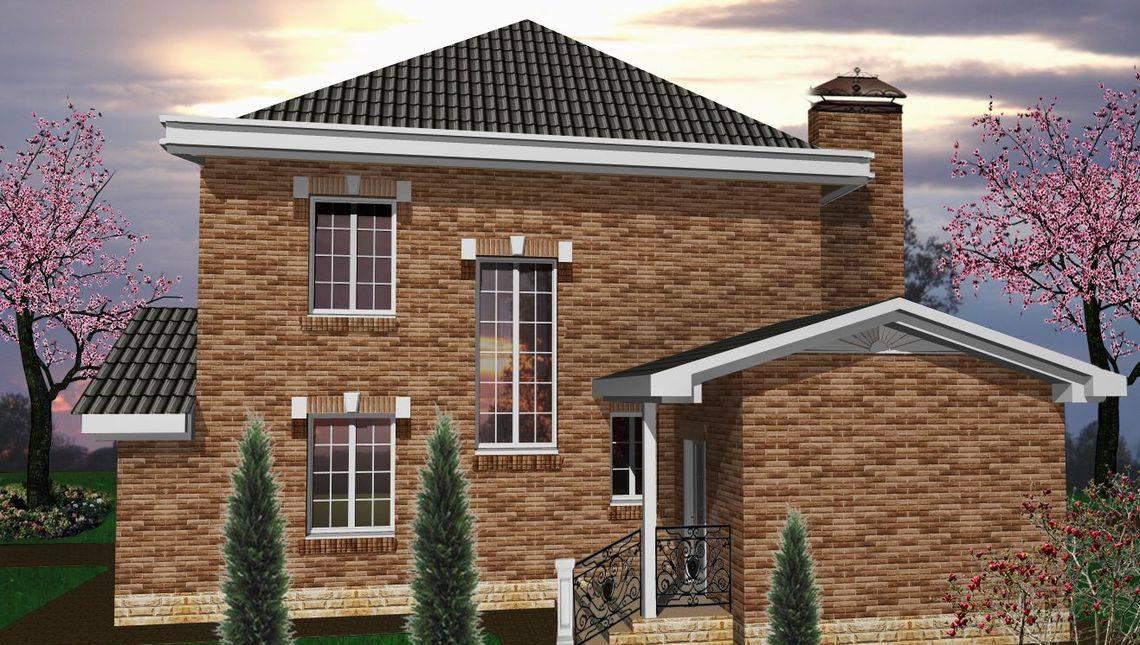 Цікавий проект двоповерхового особняка з цегляним фасадом