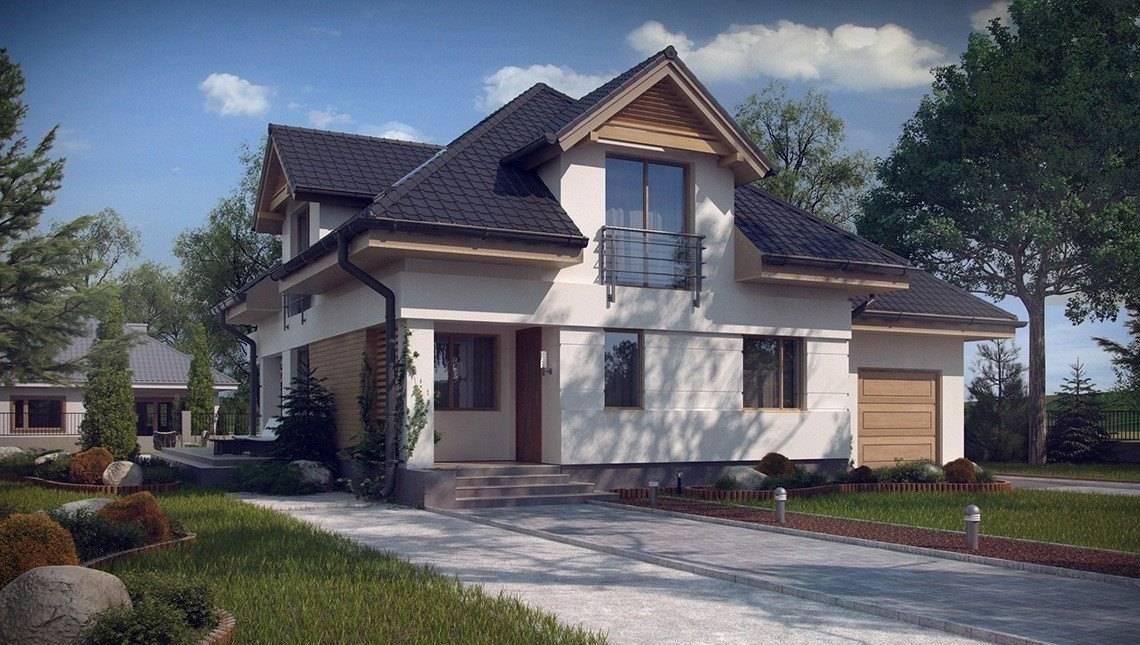 Проект красивого будинку з мансардою та гаражем