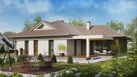 Проект одноповерхового котеджу з кутовою терасою
