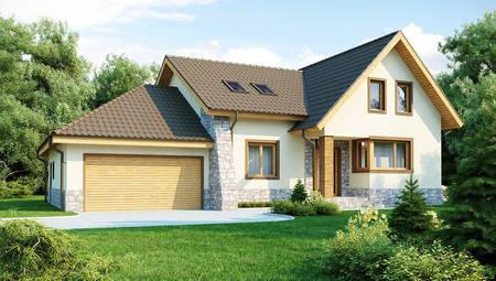 Проект будинку з гаражем для двох машин і терасою