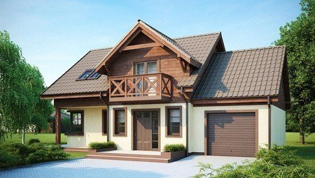 Проект будинку з гаражем, красивою мансардою і бічною терасою