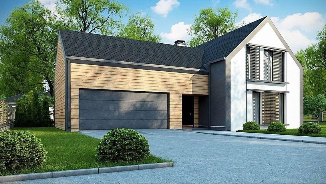 Проект будинку з мансардою з гаражем на два авто