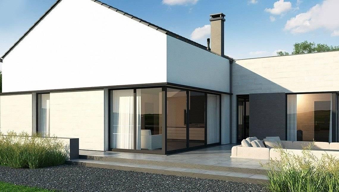 Проект одноповерхового будинку з панорамними вікнами