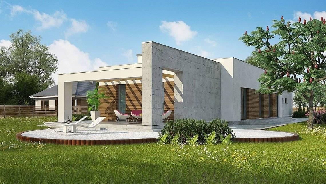 Одноповерховий котедж в стилі кубізму для вузької ділянки