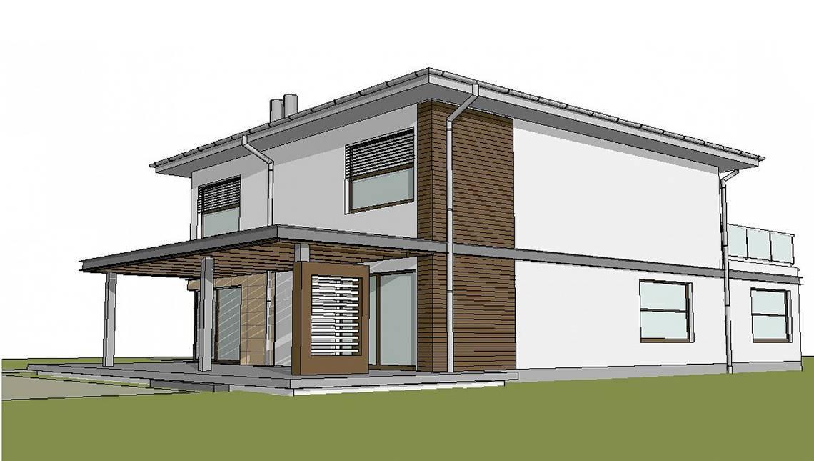 Стильний проект котеджу з просторою терасою над гаражем