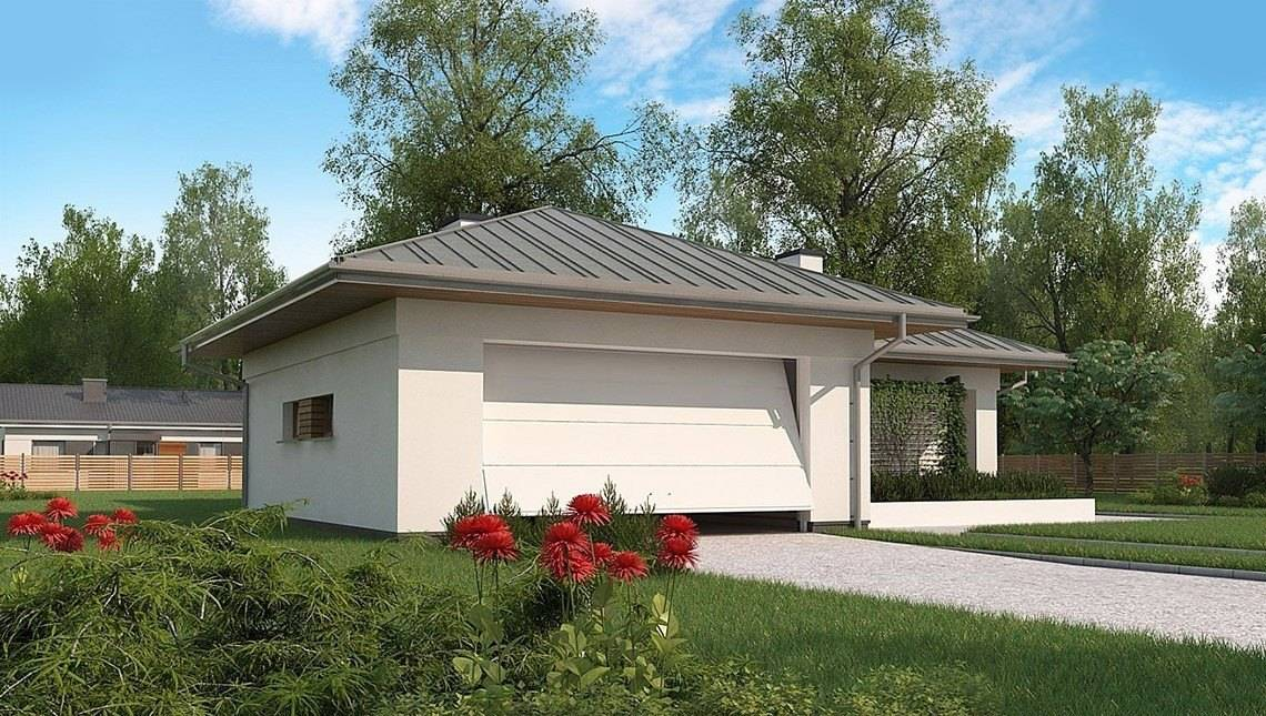 Проект одноповерхового котеджу з гаражем на дві машини площею до 150 m²