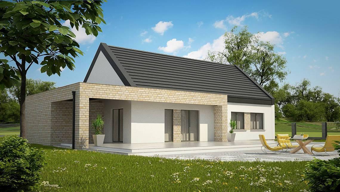 Класичний одноповерховий будинок для вузької ділянки площею 130 m²