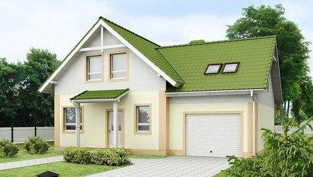 Проект одноповерхового будинку з мансардою та гаражем