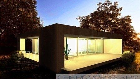 Одноповерховий невеликий стильний котедж з плоским дахом