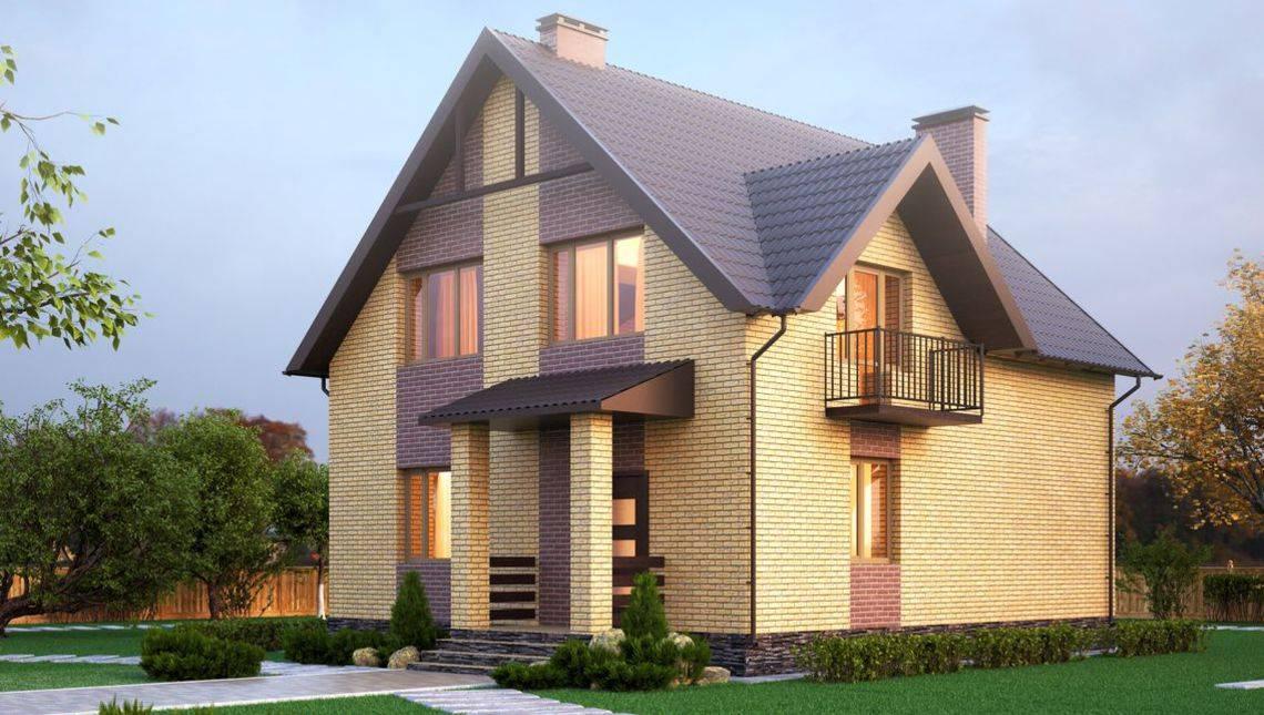 Проект стильного двоповерхового будинку з двома акуратними балконами