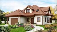 Проект будинку з гаражем, еркером, мансардою з мальовничими вікнами