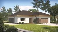 Проект одноповерхового котеджу зі здвоєним фронтальним гаражем