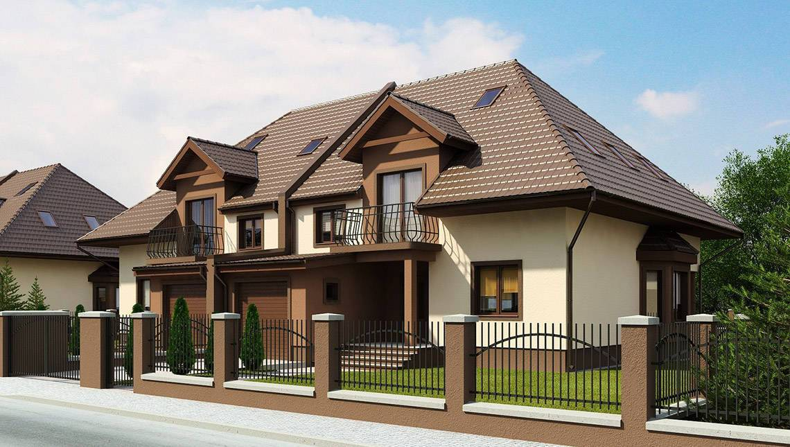 Проект будинку на дві сім'ї з гаражем і горищем
