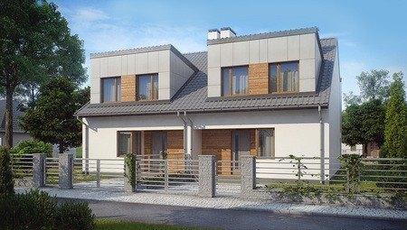 Проект двоповерхового модернового котеджу на 2 сім'ї з різними входами
