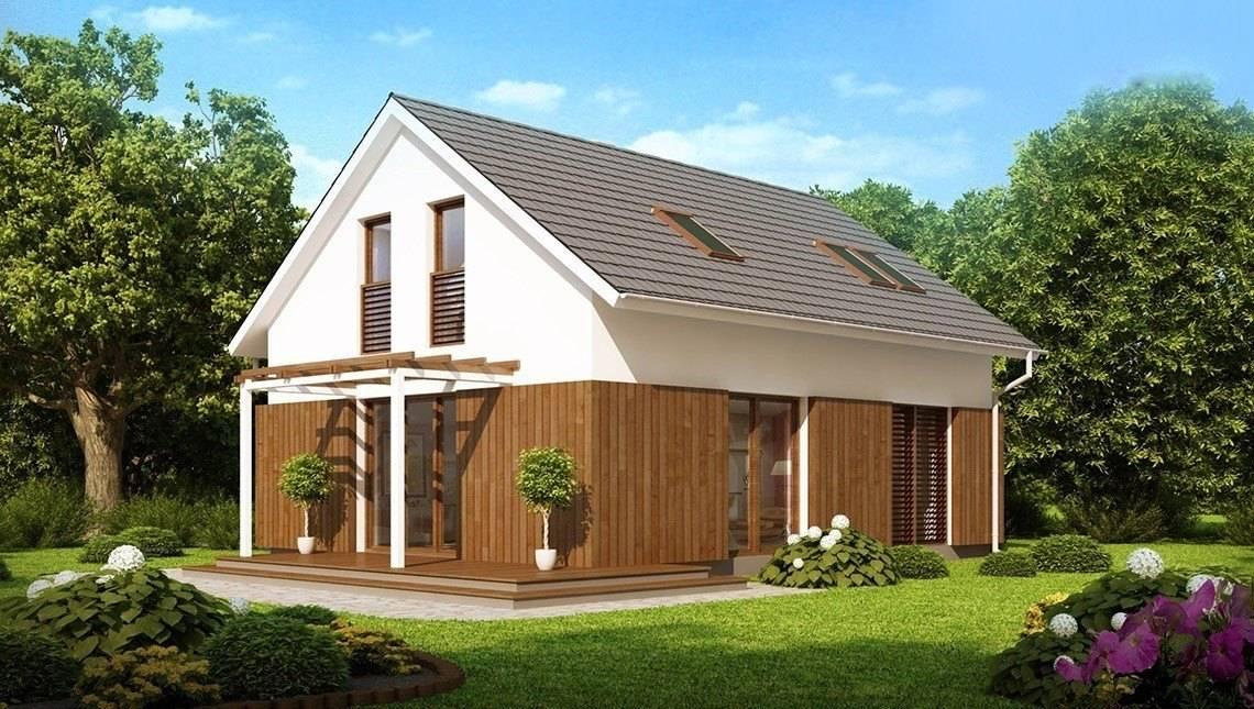 Проект котеджу з мансардою, двосхилим дахом і дерев'яним фасадом