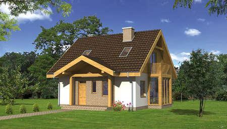 Двоповерховий будинок з квадратним еркером
