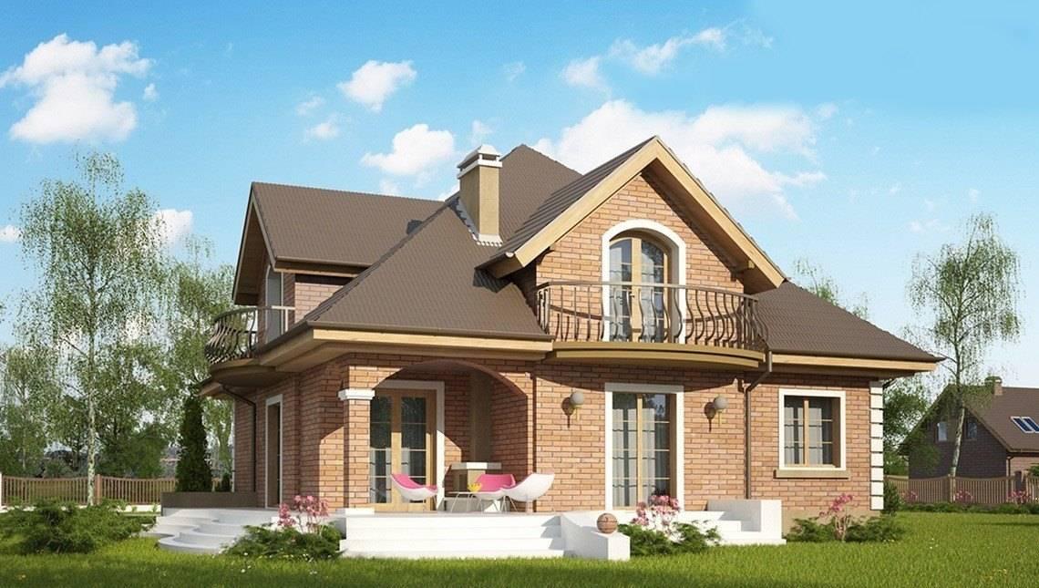Проект котеджу з мансардою і цегляним фасадом