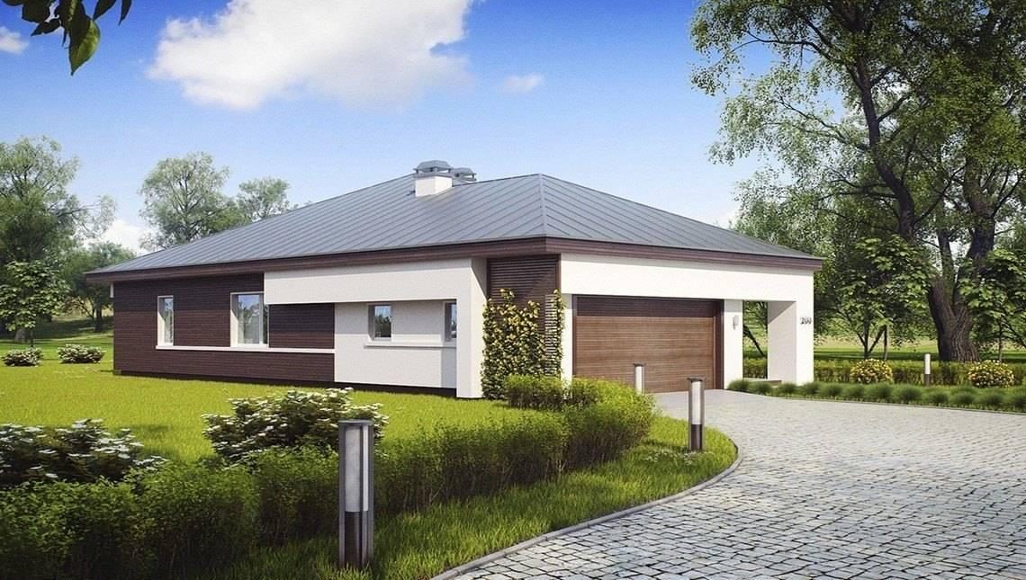Проект одноповерхового котеджу з гаражем для двох автомобілів